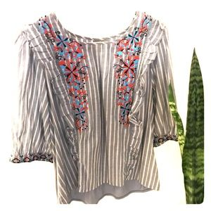 Embroidered anthropology blouse